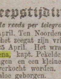 Algemeen handelsblad 29-04-1877 margaretha hillechiena Porthleven