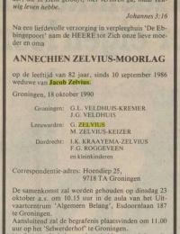 Overlijdensbericht Annechien Moorlag Nederlands Dagblad 20-10-1990