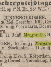 Algemeen handelsblad 15-06-1868 margaretha hillechiena Kopenhagen
