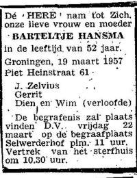 Krantenbericht overlijden Barteltje Hansma