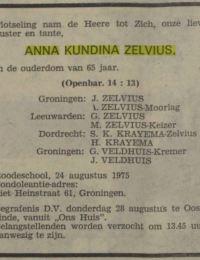 Krantenbericht overlijden Anna Kundina Zelvius ND 28-08-1975