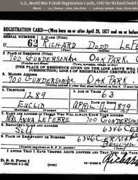 WWii Draft Richard Doss Lefebre