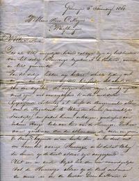 De brief, waarmede de boekhouders, Wijnne & Barends, het vergaan van de HUNSINGO met man en muis bekend maken