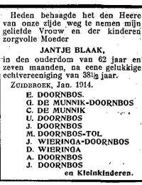 Overlijdensbericht Jantje Blaak