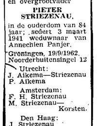 Overlijden Pieter Striezenau