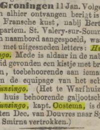 Krantenbericht vergaan Hunsingo Nwe Rotterdamsche Courant 13-01-1864