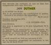Krantenbericht overlijden Jan Dutmer