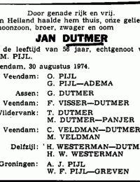 Krantenbericht overlijden Jan Dutmer 1974