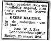 Krantenbericht werkgever Geert Kluiter